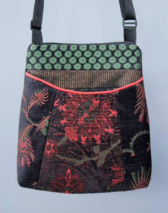 Nasturtium Tapestry Adjustable Bag in Black and Orange Floral Jacquard Upholstery Fabric Large