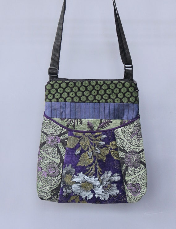 Highlands Tapestry Adjustable Bag in Purple and Sage Floral Jacquard Upholstery Fabric Large