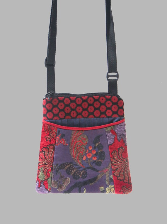 Adjustable Purse in Poppy and Purple Floral Jacquard Upholstery Fabric- One of a Kind!