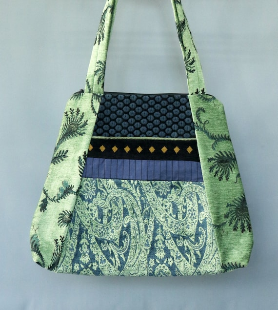 Seagrass Tapestry Tapestry Tote Bag in Black and Blue Floral Jacquard Upholstery Fabric Large