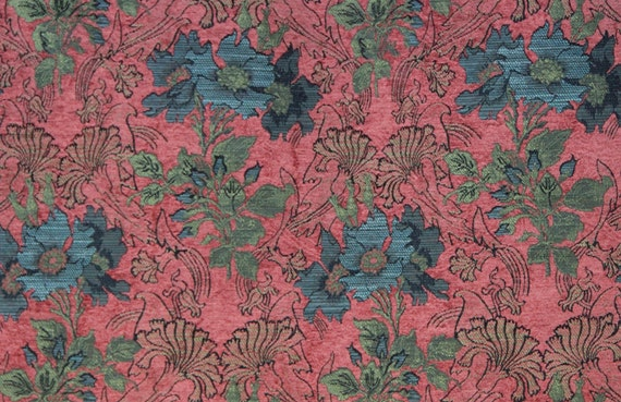 Coral Poppy Jacquard Woven Floral Upholstery Fabric