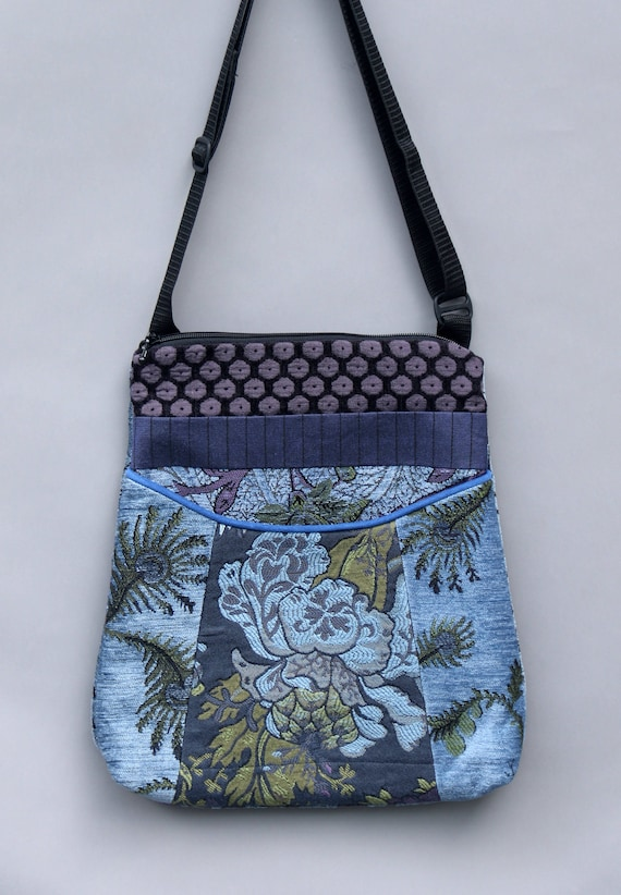 Mineral Adjustable Bag in Blue and Lavender Floral Jacquard Upholstery Fabric