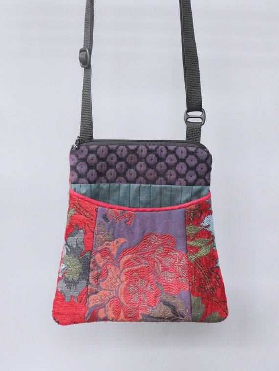 Poppy Tapestry Adjustable Purse in Purple and Red Floral Jacquard Upholstery Fabric