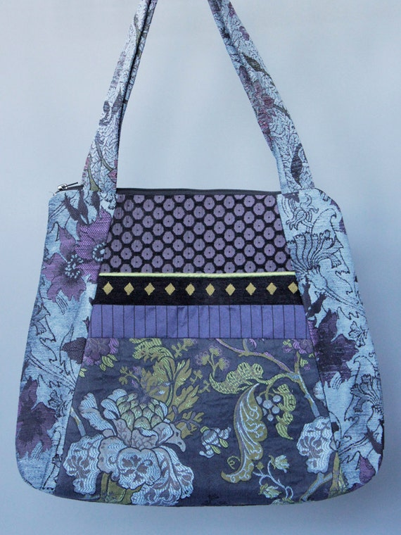 Mineral Tote Bag in Blue and Lavender Floral Jacquard Upholstery Fabric Large
