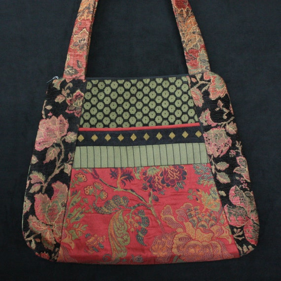 Rustic Tapestry Tote Bag in Salmon and Sage Jacquard Upholstery Fabric Large
