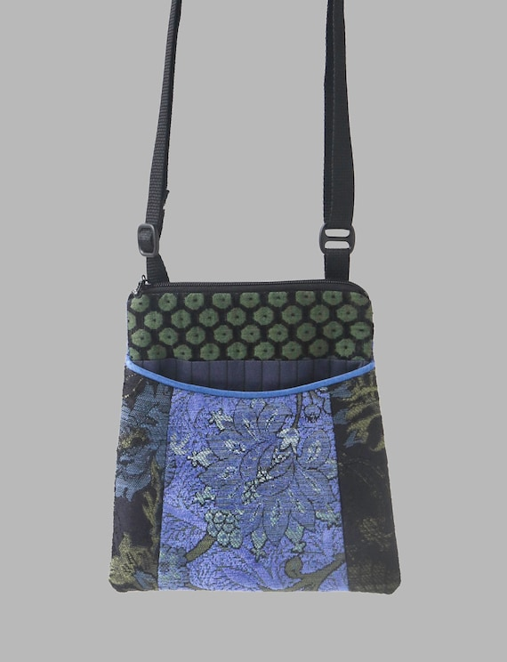 Adjustable Purse in Indigo and Black Floral Jacquard Upholstery Fabric- One of a Kind!