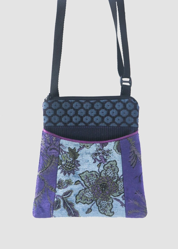 Mineral Adjustable Purse in Blue and Purple Floral Jacquard Upholstery Fabric