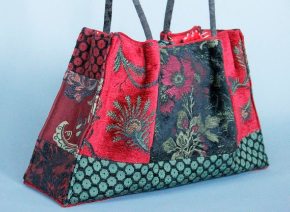 Madeira Tapestry Shoulder Bag in Red, Green and Black Floral Jacquard Woven Fabrics