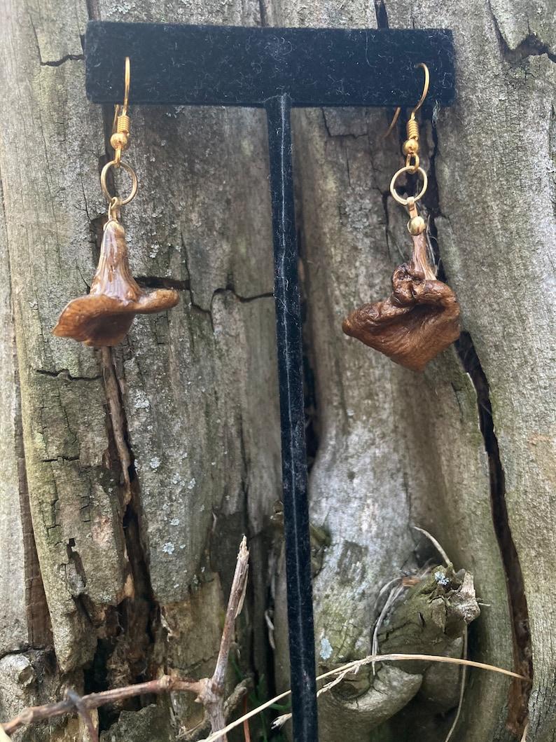 Delicate Cottagecore Real Mushroom Earrings