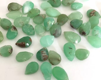 Natural Green Chrysoprase Half top drilled Acorn Drops 10x12 mm One Pair F6143