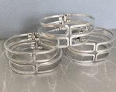 Vintage Brass Hinged Bracelet, 60 39 s Jewelry, Silver Plated Bangle Bracelet, 1PC