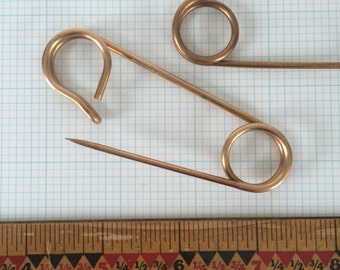 """Large Safety Pin, Kilt Pin, Home Accessory, Vintage Brooch, Object d'Art, 3.5"""""""