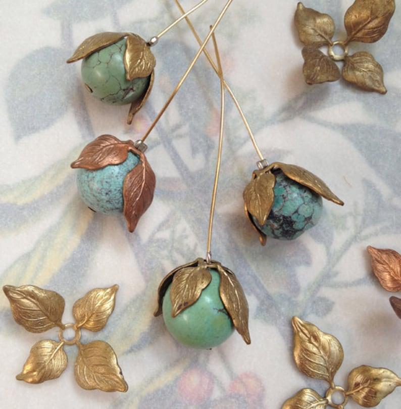 Vintage Leaf Bead Caps Nature Beads Caps Texture Brass Bead image 0