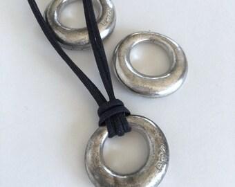 Large Silver Pendant, Modern Pendant, Abstract Pendant, 32mm, 1 Pc