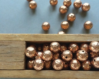 10mm Copper Beads, Hammered Copper Beads, 10mm, 12PCS