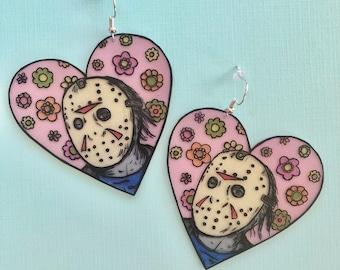 Jason Vorhees floral earrings
