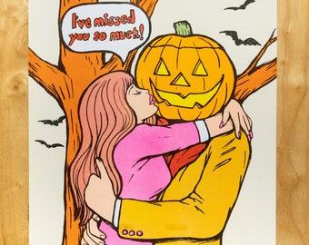 Slightly flawed Halloween romance risograph print