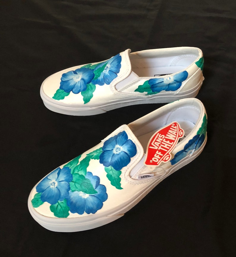 White vans with blue feather | zapatos | Painted shoes, Vans