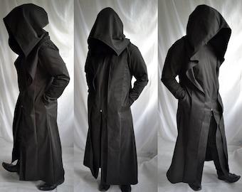 Anon Coat ( mens coat overcoat waistcoat extra large hood trench coat  reaper ritual robe dystopia post apocalyptic ) 326bc5114