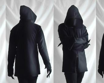 Shadow Hoodie ( mens dark black mask hoodie jacket ninja shinobi cyberpunk dystopian post apocalyptic immortal anime fantasy nomad))