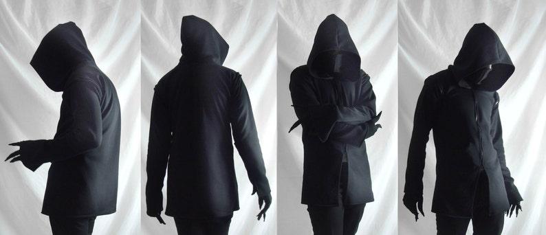 56c609af Shadow Hoodie mens dark black mask hoodie jacket ninja | Etsy