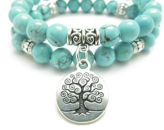 Tree of Life jewelry Yoga Mala Bracelet Turquoise Healing Protection Elastic Beaded Stacking Bracelet Spiritual jewelry Mother's Day gift