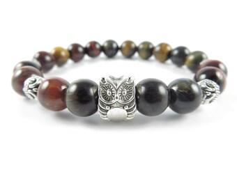 Owl Mala Bracelet,Yoga Jewelry,Tiger eye Mala,Owl Jewelry,Wrist Mala Beaded Bracelet,Meditation Wisdom Gemstones,Christmas Unique Gift