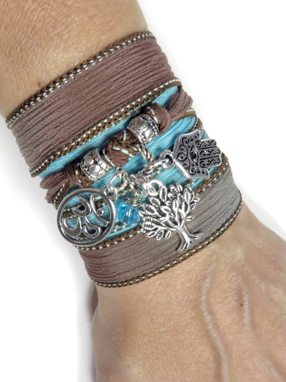 Namaste Tree of Life Wrap Silk Bracelet Bohemian Yoga Bracelet Hamsa Hand Of Fatima Om Spiritual Bracelet Yoga Zen Jewelry Birthday Gift