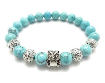 Owl Turquoise Bracelet,Mala Bracelet,Yoga Jewelry,Owl Jewelry,Wrist Mala Beaded Bracelet,Meditation Wisdom Gemstones,Christmas Unique Gift