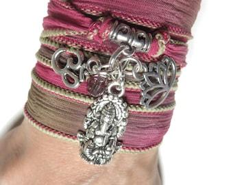 Ganesha Silk Wrap Bracelet,Yoga Jewelry,Om, Namaste,Spiritual,Zen,Om,Buddhist Jewelry,Wrapped Silk Ribbon Bracelet Birthday Gift For Her/Him