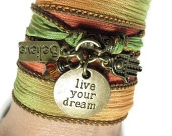 Yoga Bracelet,Wrap Silk Bracelet,Live Your Dream,Summer,Beach,Spiritual,Believe,Hamsa,Bohemian Jewelry,Orange,Yellow,Yoga Jewelry