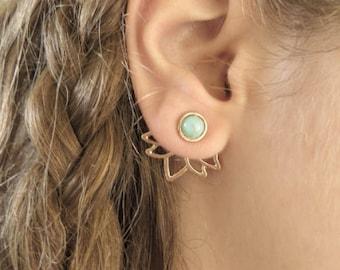 Gold Lotus Ear Jacket Earring, Minimalist Ear Cuffs, Turquoise Jacket Earring, Gold Stud Earring, Yoga Lotus Earrings, Trendy Jewelry