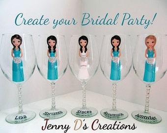 Create a Character Wine Glasses, Wedding Wine glasses, Custom wine glasses, Bridesmaid Wine Glasses, Champagne glass