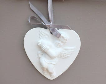 Heart and his heart Angel ceramic 9 x 8.5 cm