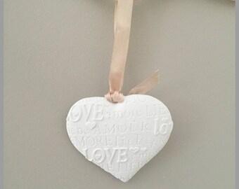 Heart love, love, love... ceramic 7.5 x 8 cm