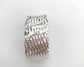 Wide Bangle Bracelet braided 925 sterling silver