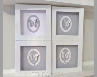 4 white frames with white and gray butterflies 14 cm