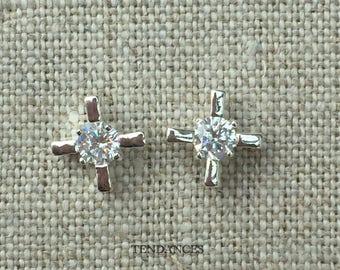 earring cross in 925 Silver with zircon 1.9 cm