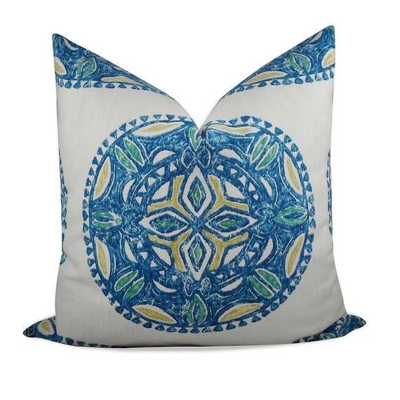 Alfred Shaheen Westminster Medallion Pillow Cover SAME Fabric BOTH Sides 22x22 and lumbar sizes Invisible Zipper 20x20 18x18
