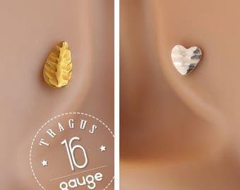 Flat Back Helix Stud - Tragus Earring Heart - Helix Piercing - Heart Helix Stud - 16 Gauge Tragus - Helix 16 Gauge - Leaf Tragus Stud