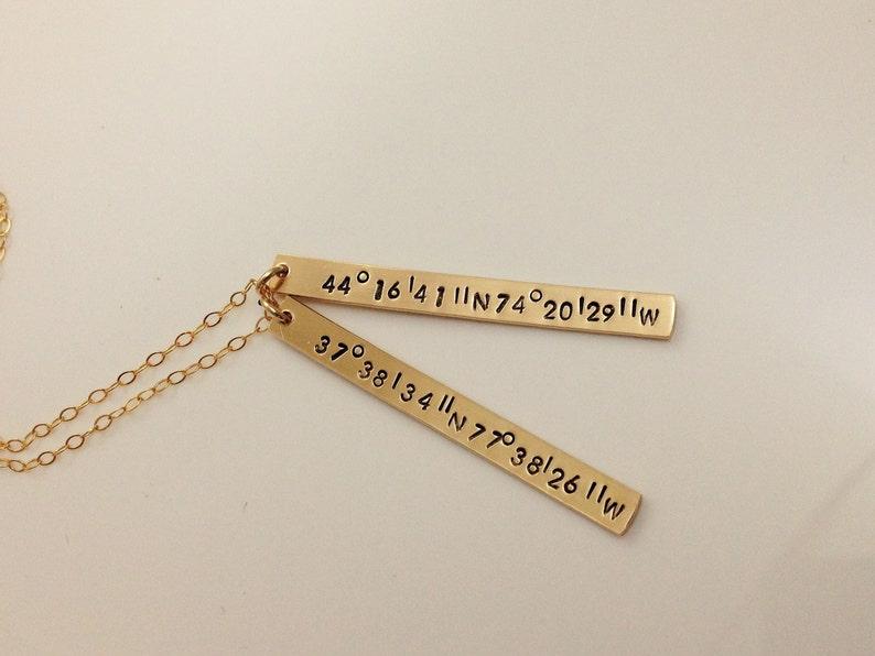 Valentine/'s Gift For Her Long Distance Relationship Gift Long Distance Love GPS Necklace stamped with TWO sets of Coordinates