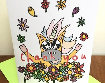 Thank You Star Eyed Unicorn in Flowers Greeting Card