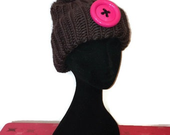 Chocolate brown pink Giant Button Cuffed Slouch Knit Bobble Hat  Pom Pom Hat   Beanie hat  Ski hat 61493c3bb