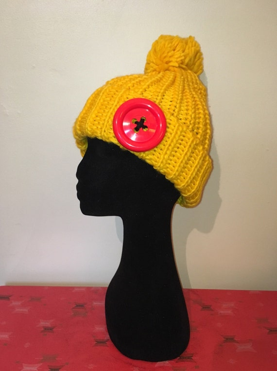 Giant Button Cuffed Slouch Knit Bobble Hat  Pom Pom Hat  Ski  bfa4262b2