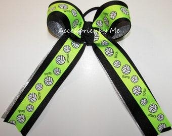 Volleyball Bow, Green Volleyball Bow, Volleyball Ponytail Bow, Sparkly Neon Green Black Silver Volleyball Bow, Green Black Volleyball Ribbon