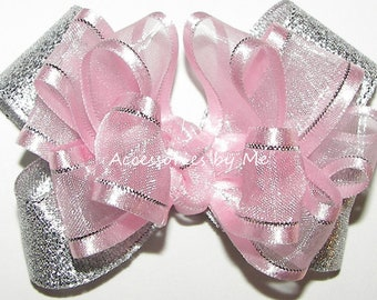 22a4d02fada55 Light Pink Hair Bow, Pink Silver Clip, Baby Pink Silver Hair Barrette, Powder  Pink Flower Girl Bow, Pink Pageant Bow, Pink Silver Hair Bow