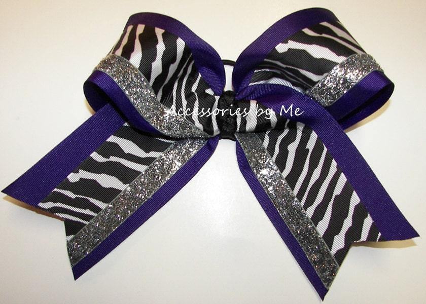 purple cheer bow sparkly dance clip zebra black white purple