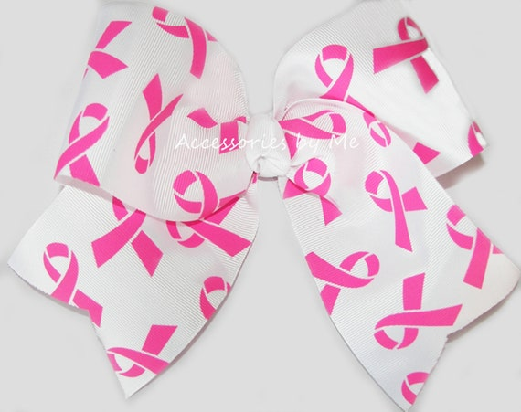 Breast Cancer Awareness Streamer Hair Bow~Glitter~Hope~Handmade by me!