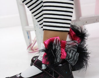 Frilly Zebra Socks, Black Hot Pink Socks, Organza Satin Marabou Bow Socks, Baby Toddler Girls Custom Boutique Birthday Party Safari Socks