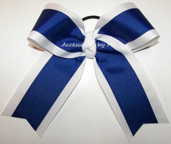 Handmade Royal Blue Solid Cheer//Softball//Volleyball Bow
